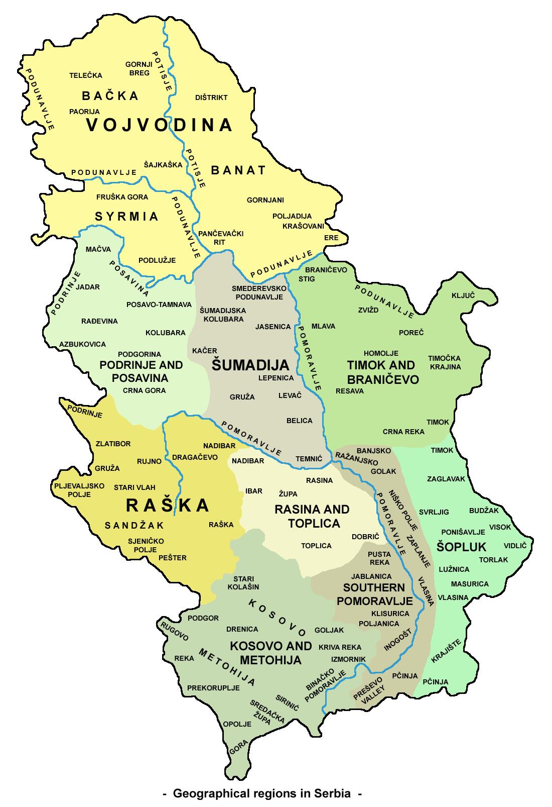 svrljig mapa srbije Geography of Serbia   Wikipedia svrljig mapa srbije