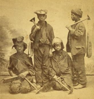 Studio portrait of young chimney sweeps, by Havens, O. Pierre 1838-1912 (crop)