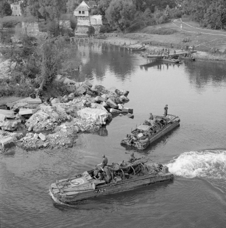 DUKWs ferrying supplies across the river