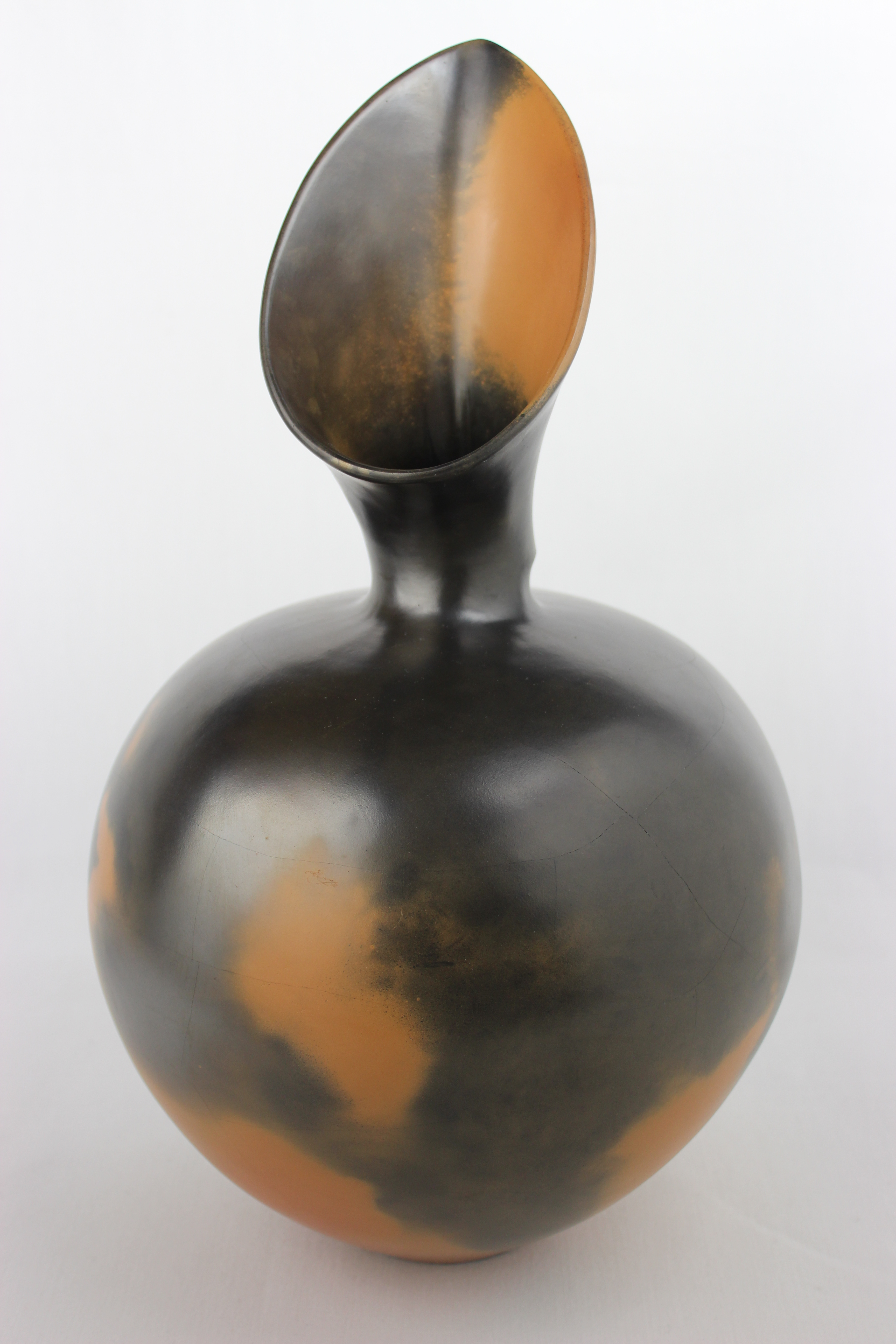 File Thrown Burnished Reduction Fired Pot By Magdalene