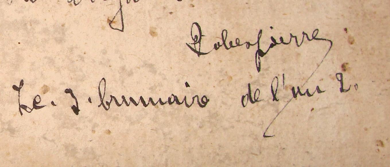 Firma de Maximilien Robespierre.