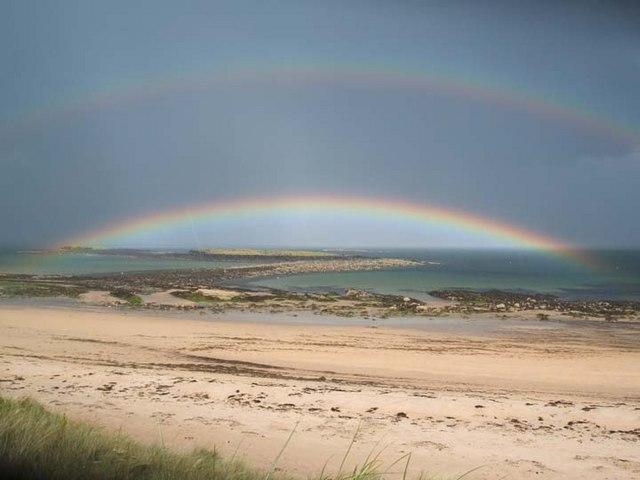 English: Unusual double rainbow Taken over The...