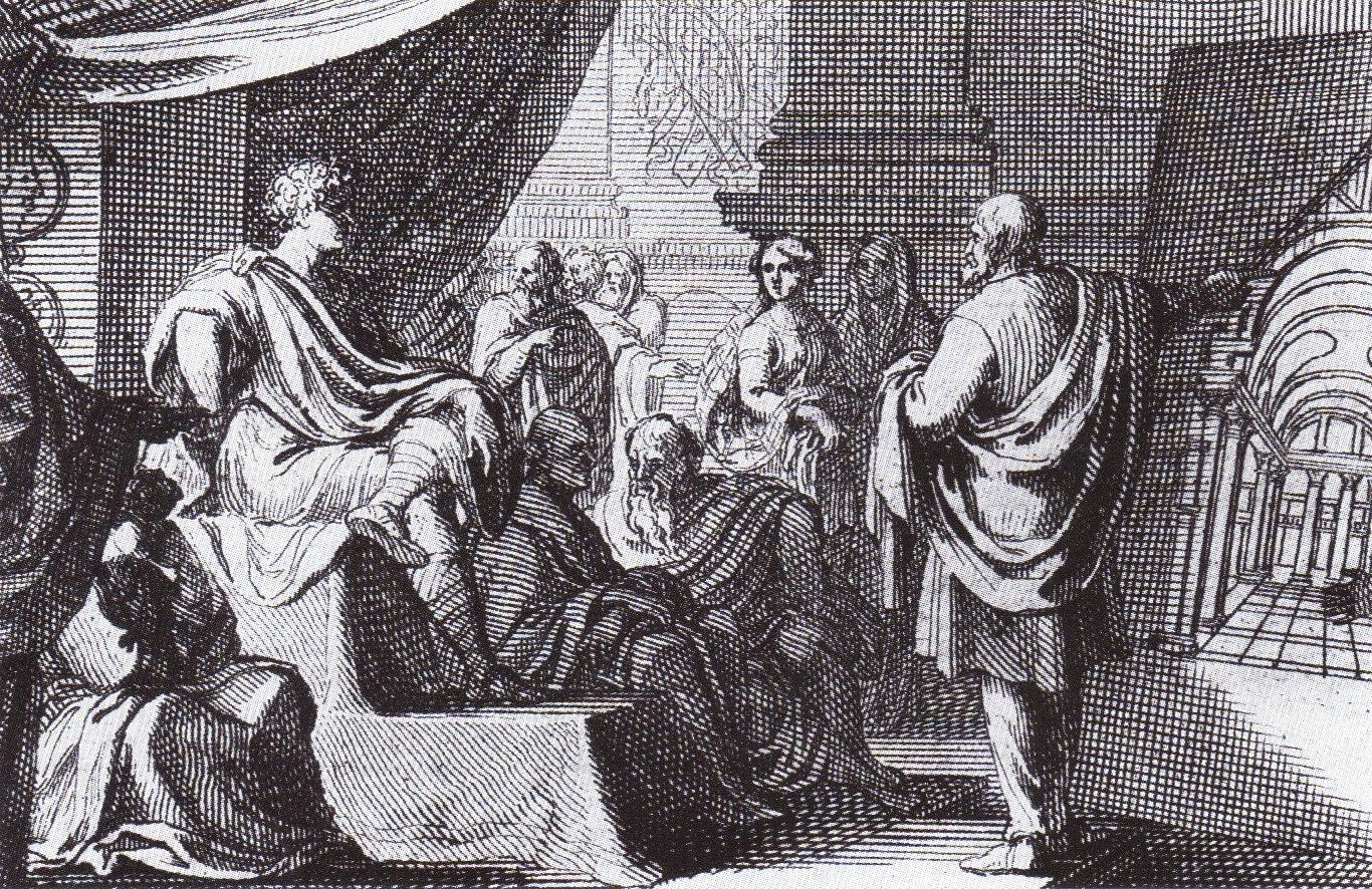A 1684 depiction of Vitruvius (right) presenting ''[[De Architectura]]'' to [[Augustus]]