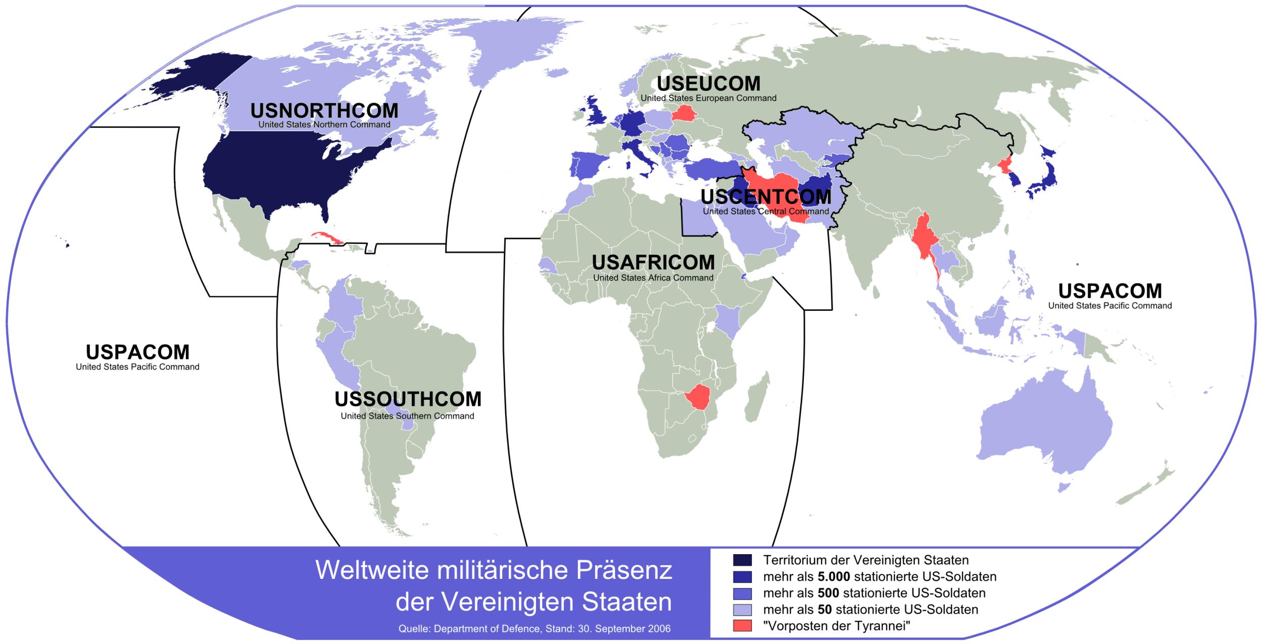 Weltweite militärische Präsenz der Vereinigten Staaten