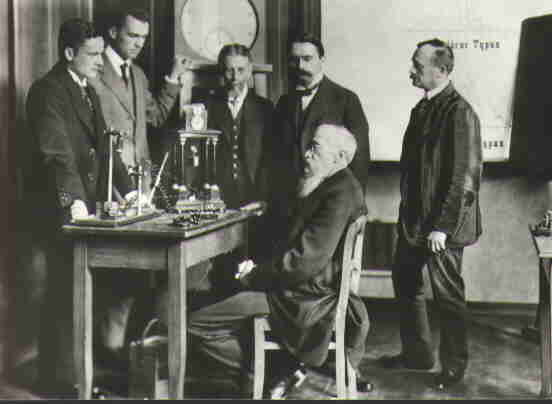 Wilhelm Wundt (seated) with colleagues in his psychological laboratory, the first of its kind. Wundt-research-group.jpg