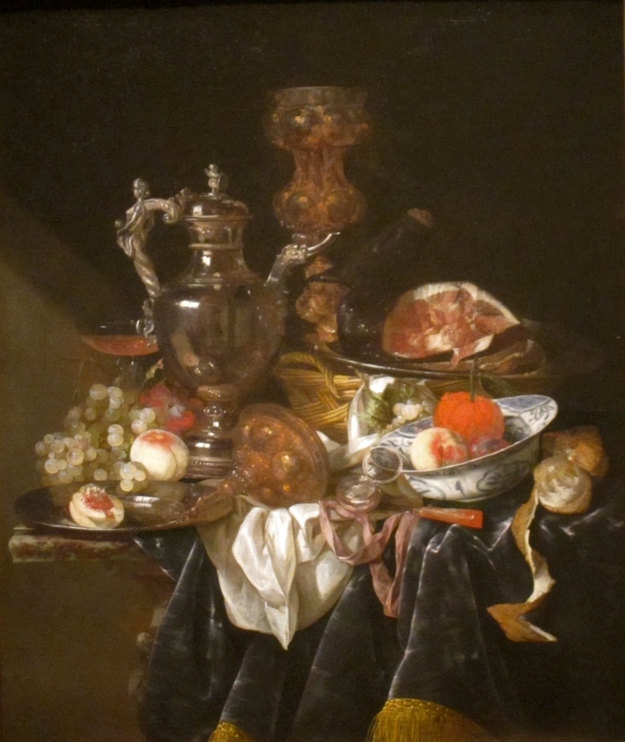 File Silver Wine Jug Ham And Fruit By Abraham Van