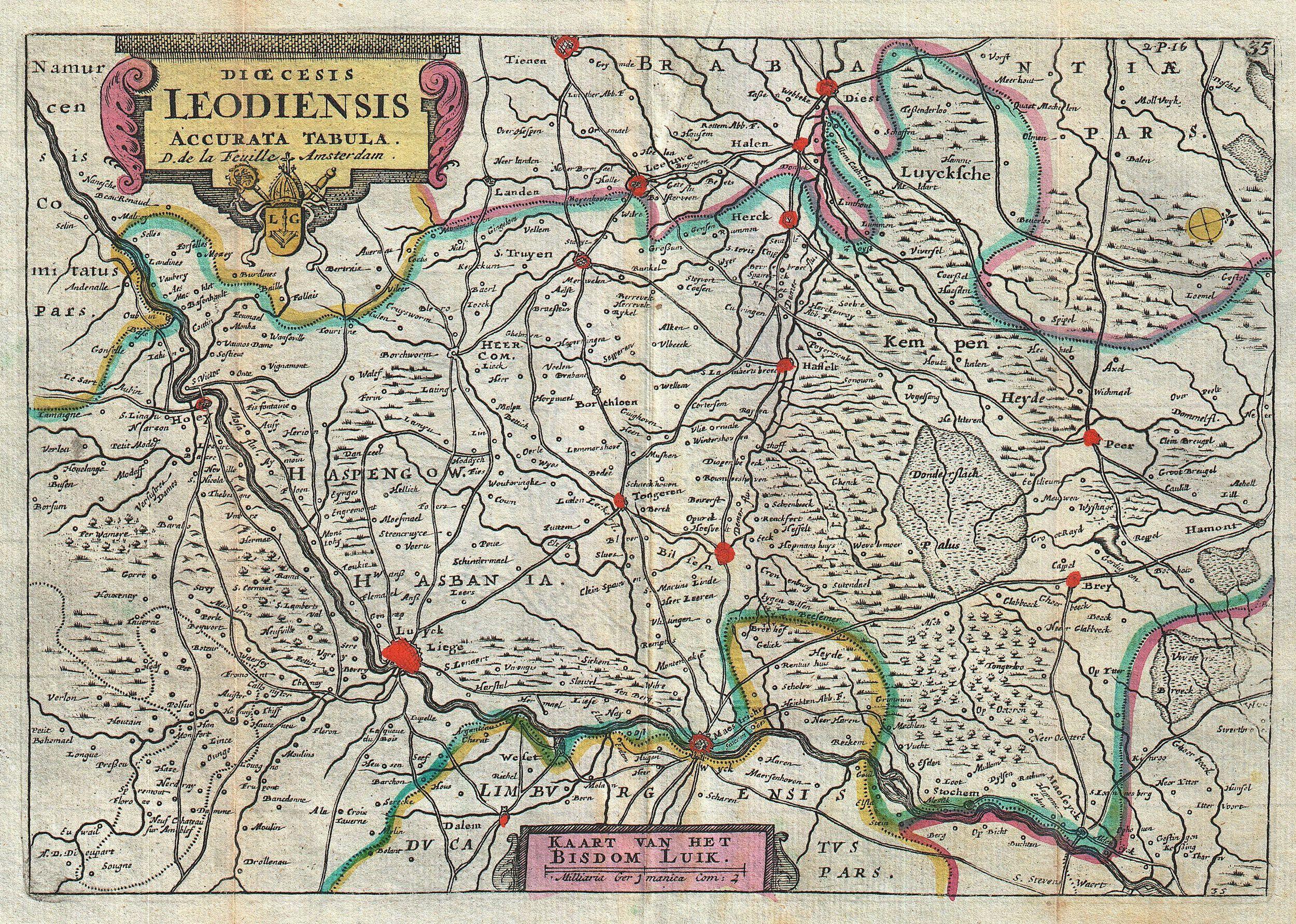 file1747 la feuille map of liege belgium leodiensis geographicus