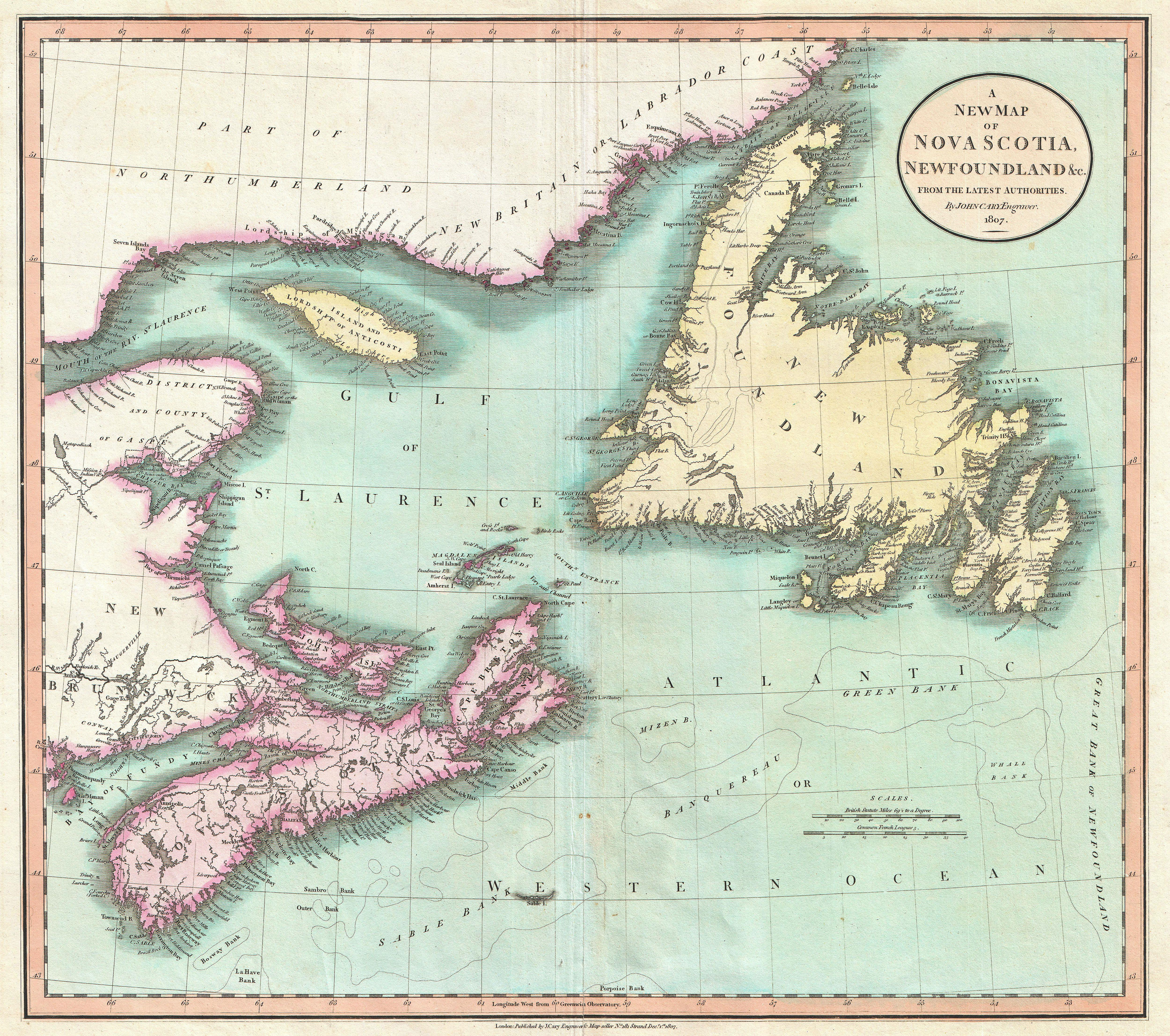 File 1807 Cary Map Of Nova Scotia And Newfoundland Canada