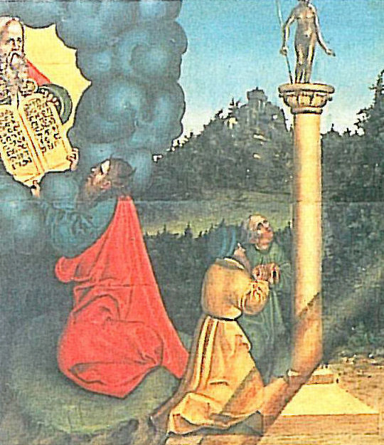 The Ten Commandments by Lucas Cranach the Elder in the townhall of Wittenberg, (detail) dans immagini sacre 1_Gebot_%28Lucas_Cranach_d_A%29