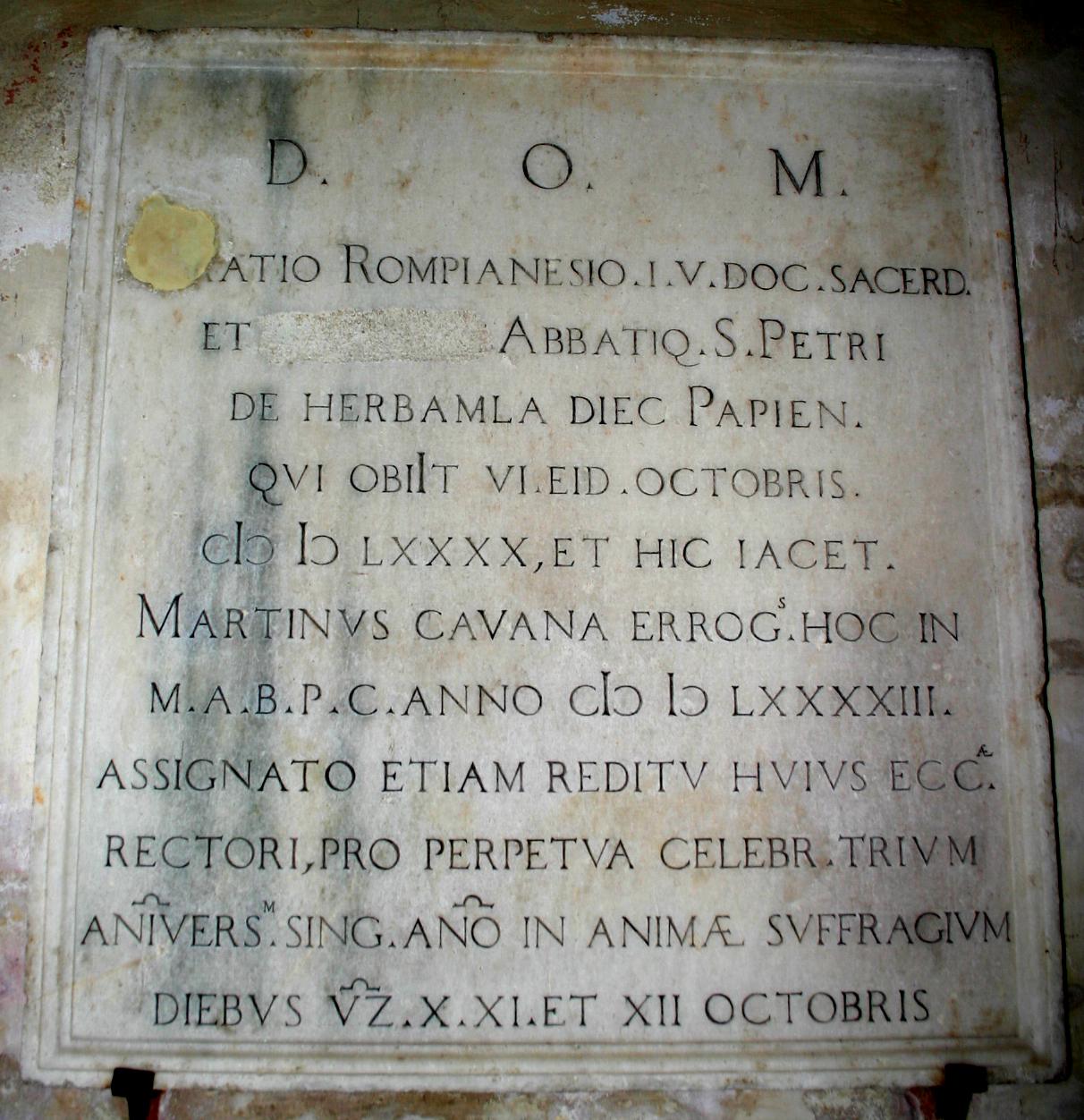 File:8470 - Milano - San Marco - Lapide Orazio Rompianesi - Foto ...
