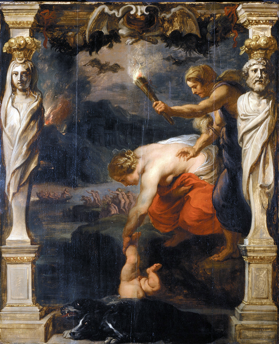An image of Thetis dunking Achilles in the river Styx.
