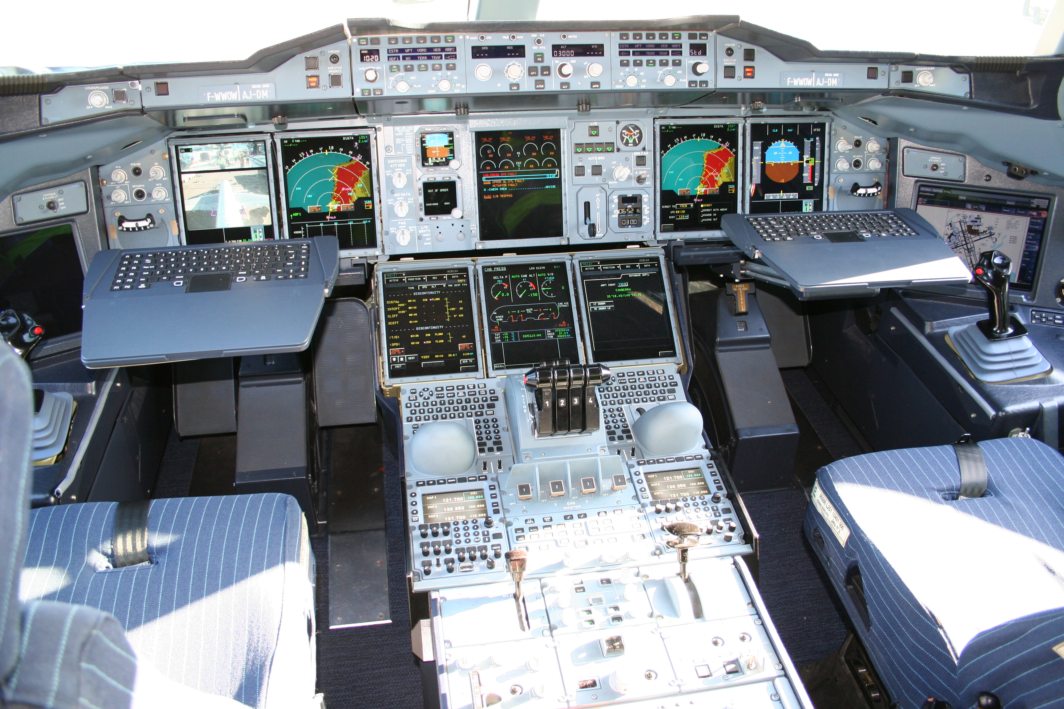 Cockpit with control stick
