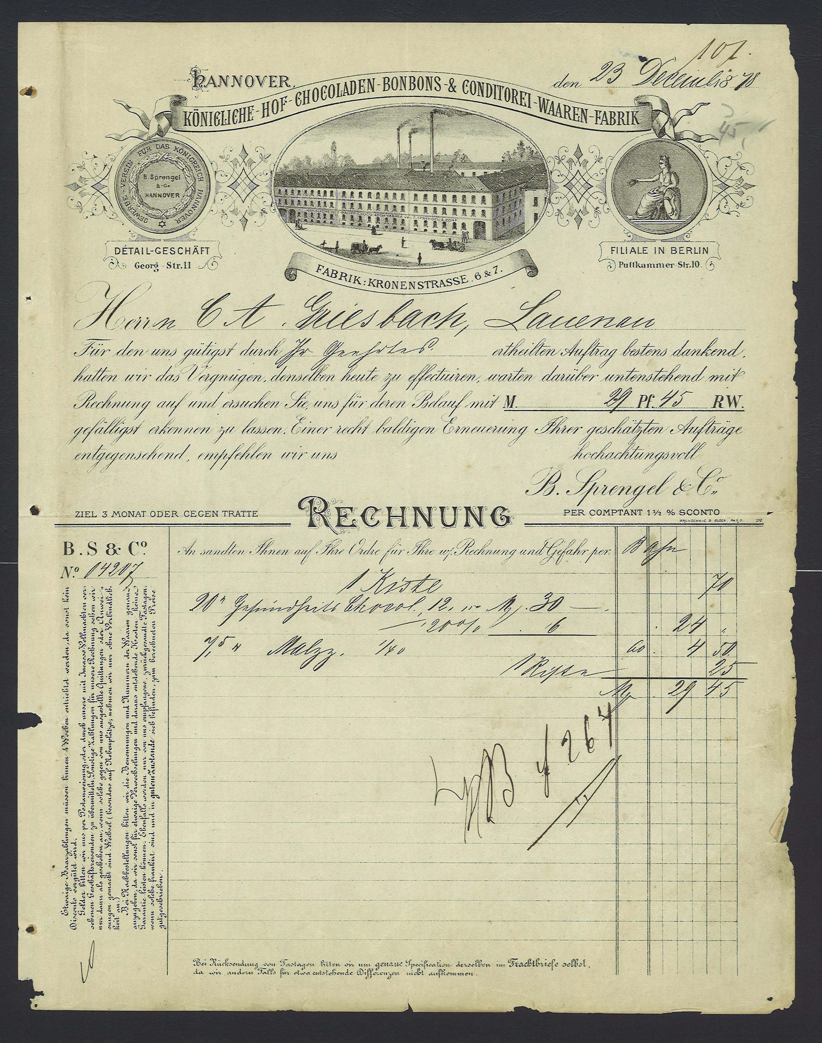 File:B. Sprengel & Co. 1878-12-23 Hannover Kronenstraße 6 & 7 ...