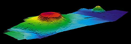 The Bear Seamount (left), a guyot in the northern Atlantic Ocean Bear Seamount guyot.jpg