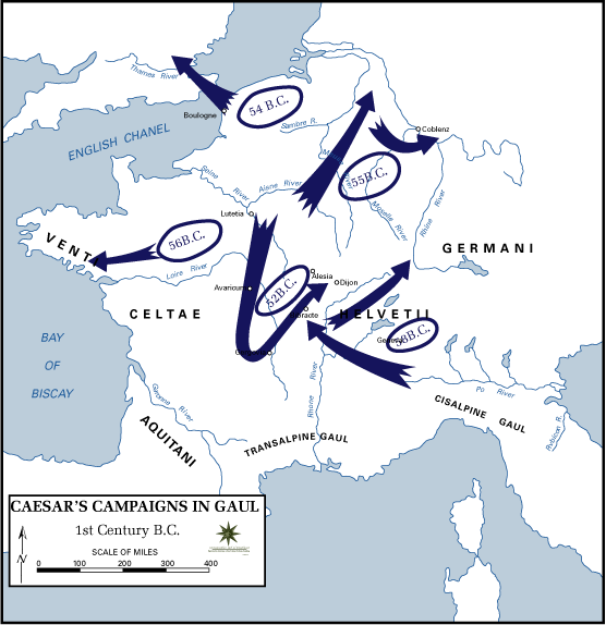 an analysis of caesars campaigns in gaul which began in 58 bc Caesar in gaul in the 50s bc rome controlled cisalpine gaul and gallia narbonensis, but vast free areas included aquitania, celtica, and belgica a leadership system of druid priests and warlords the gallic campaigns 59-52 bc the request of aid by the allied aedui () neighboring gallic tribes had allied with germans and defeated them romans did nothing roman prestige in gaul declined.