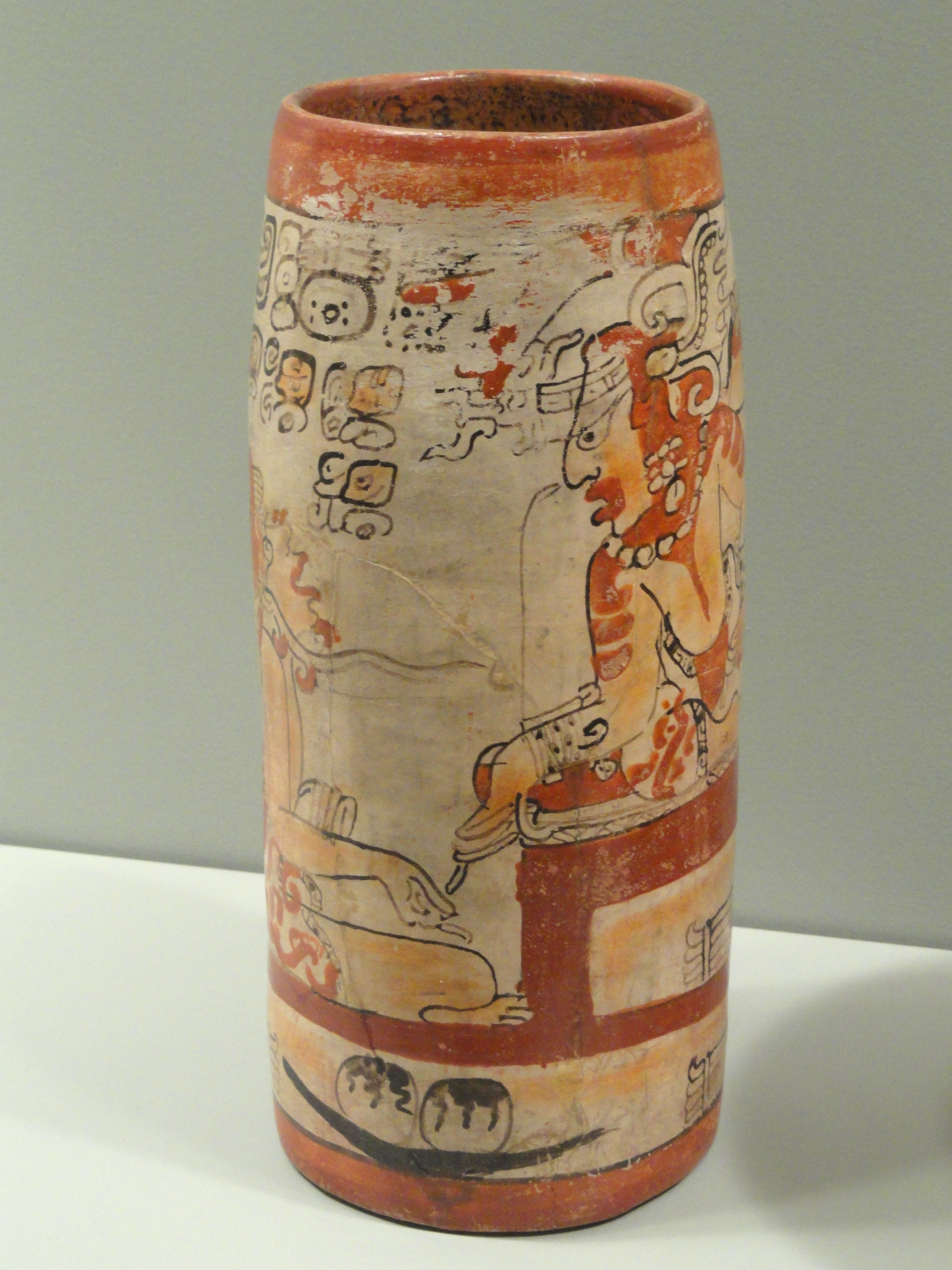 File Cylinder Vase With Palace Scene 650 750 Ad Maya Culture Guatemala Or Mexico Earthenware
