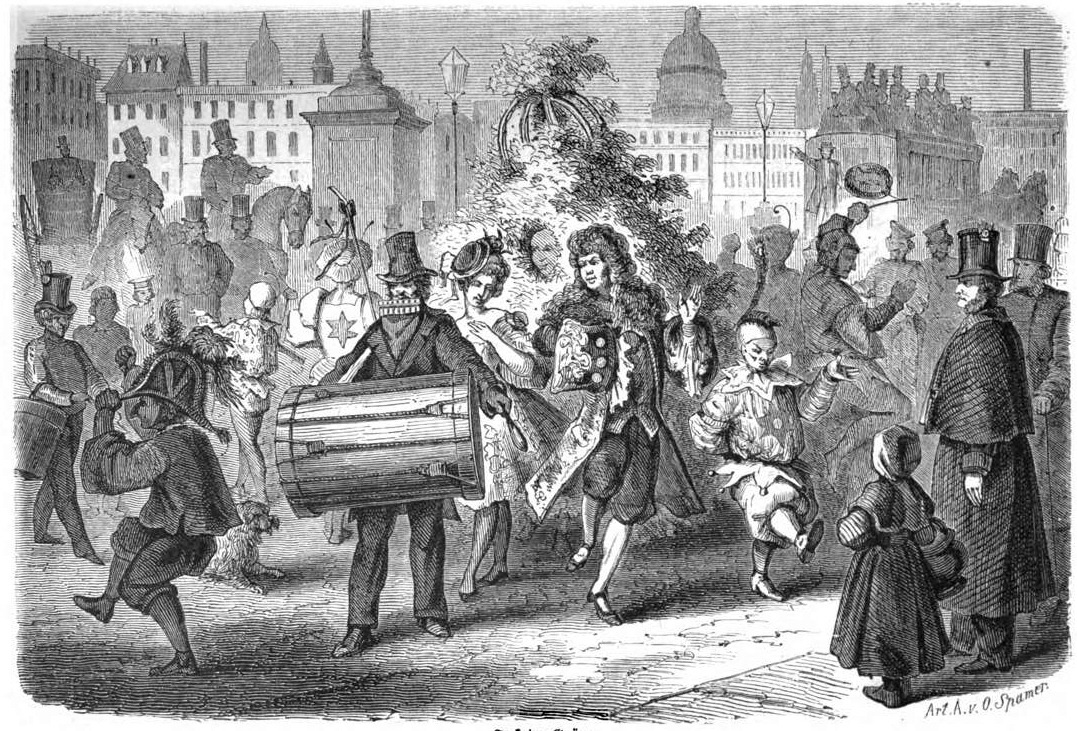 An image of a May Day parade in 1863 including a Jack-in-the-Green.