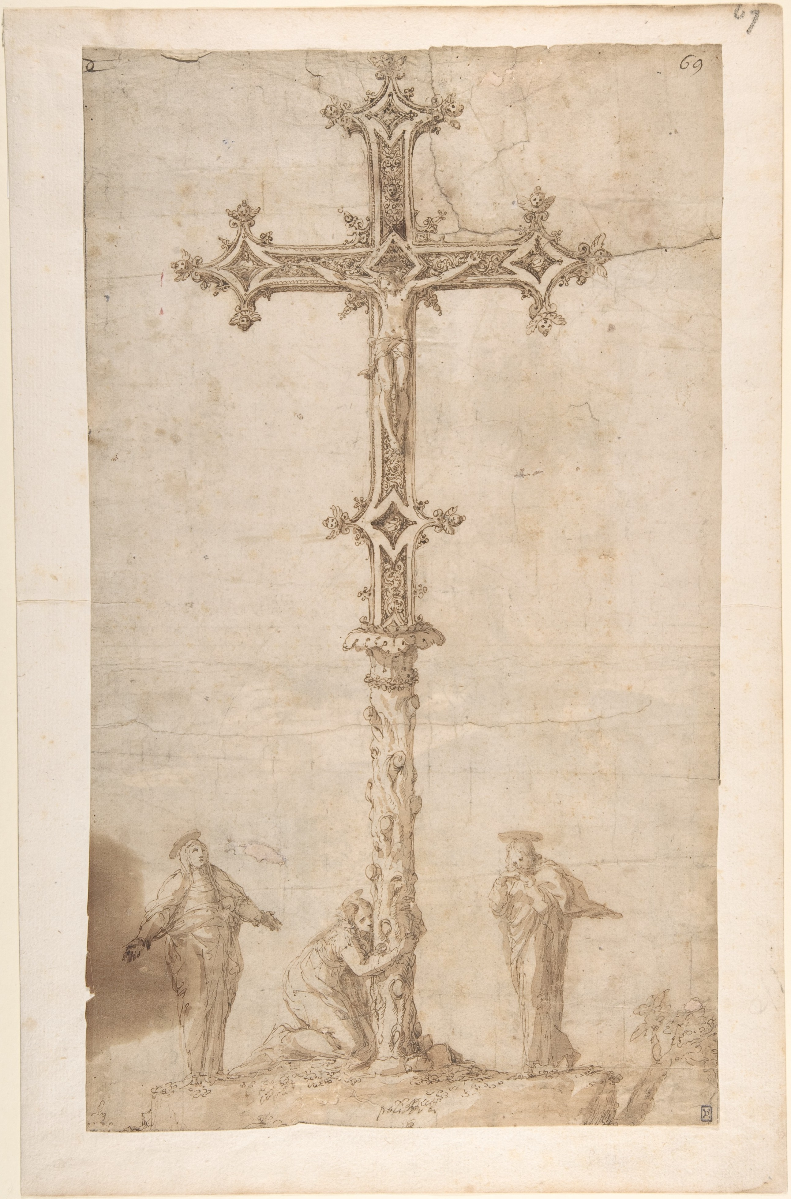 Filedesign For A Crucifix With The Virgin Mary Saint Mary Magdalen