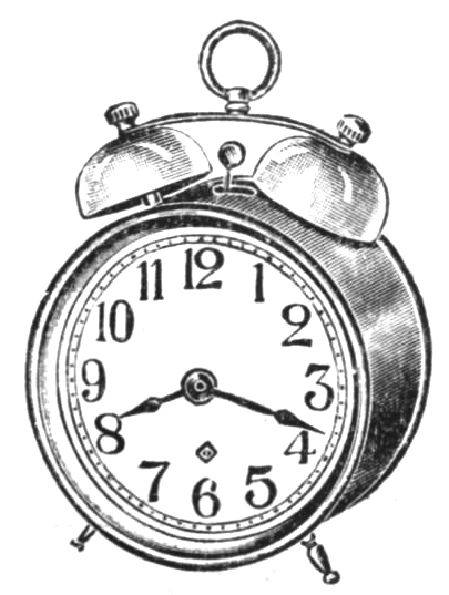A double-bell mechanical alarm clock from a 1917 catalogue.