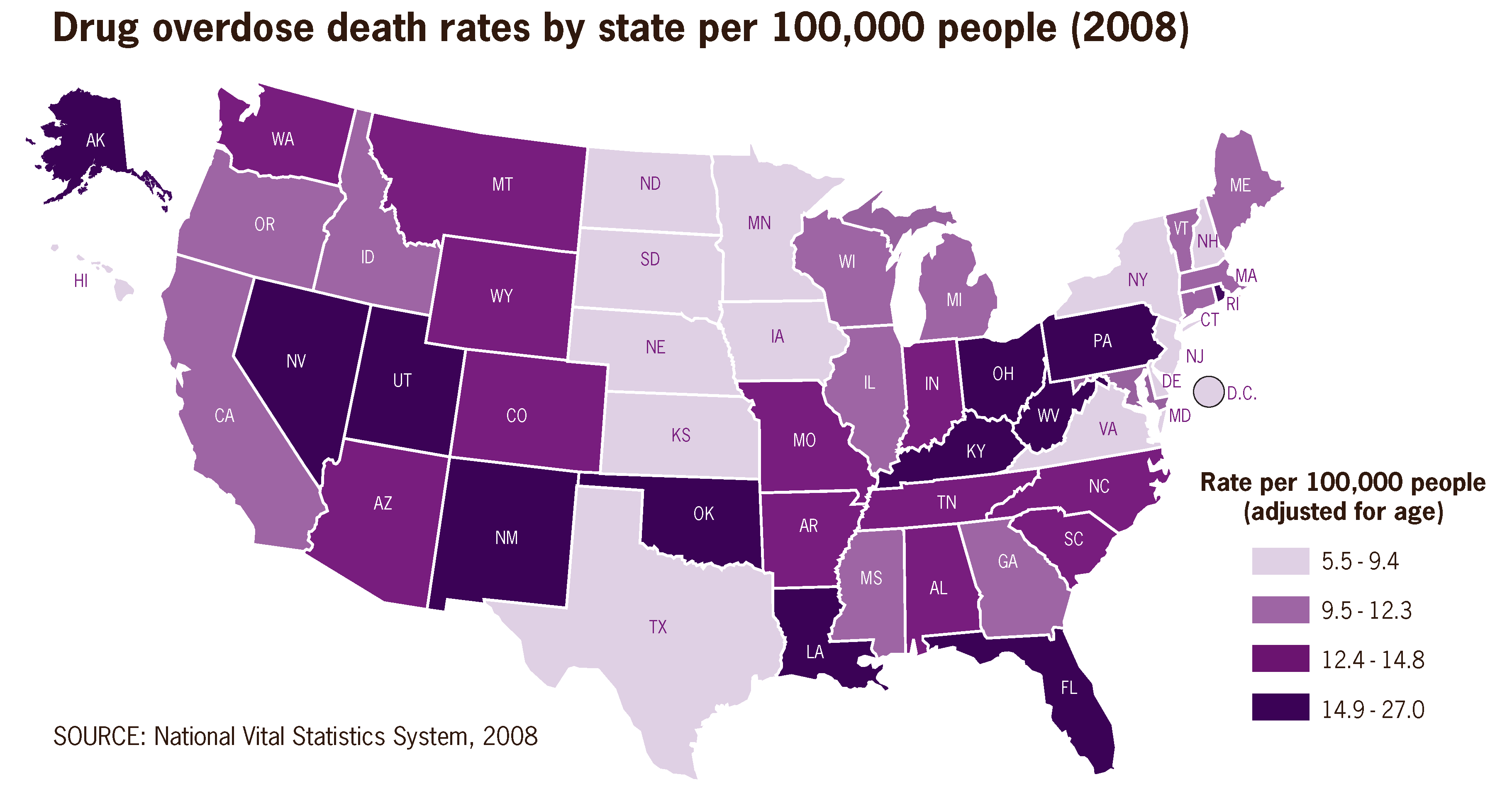Drug overdose death rates by state per 100,000 people 2008 US.png
