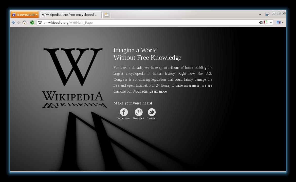 Black out de Wikipédia en anglais de janvier 2012