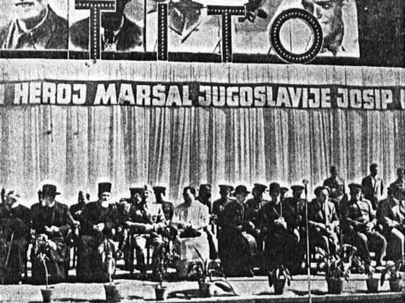 Celebrating Tito in Zagreb in 1945, in presence of Orthodox dignitaries, the Catholic cardinal Aloysius Stepinac, and the Soviet military attaché