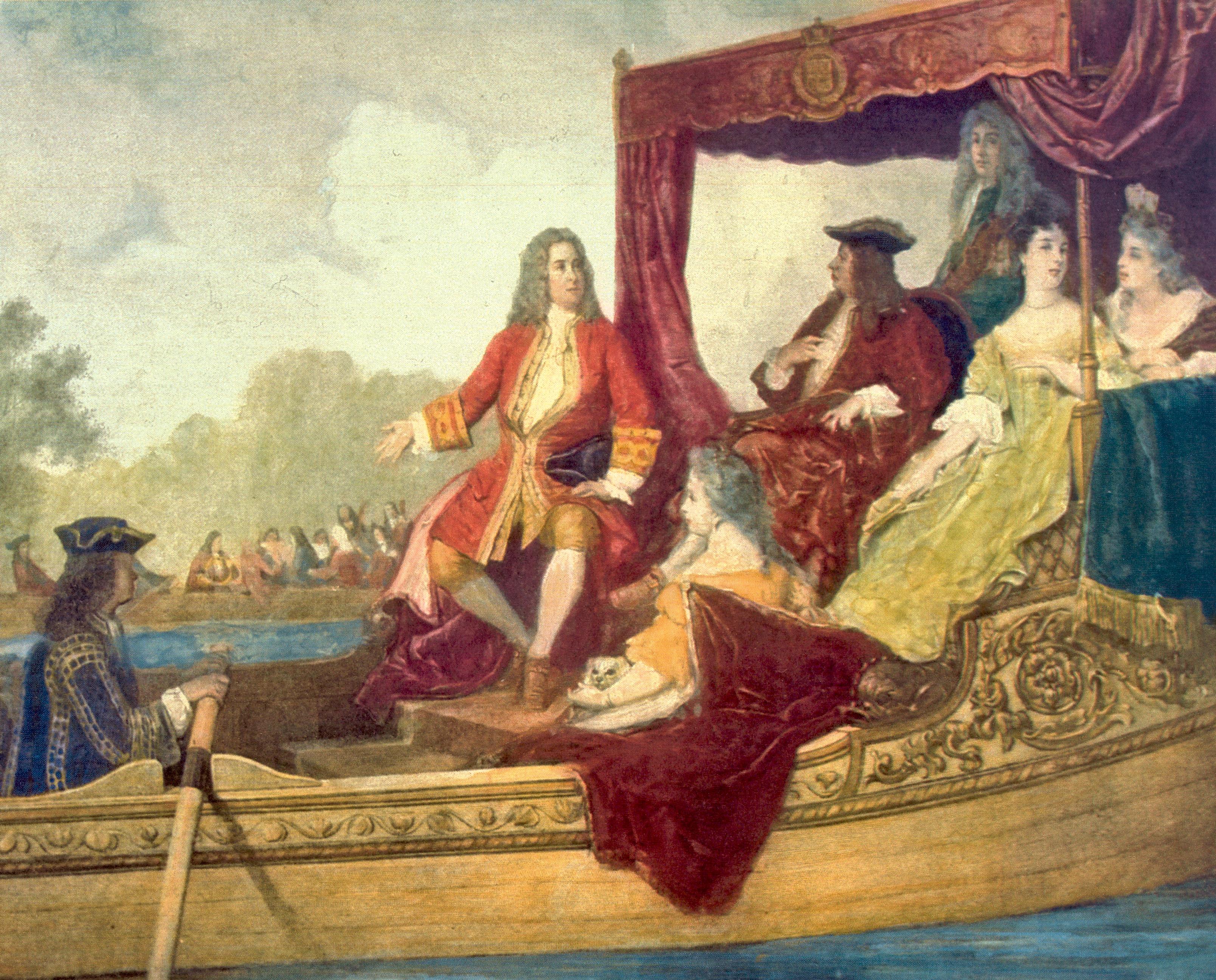 Georg Friedrich Händel con el rey Jorge I el 17 de julio de 1717 en el Támesis.