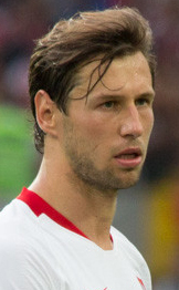 The 28-year old son of father (?) and mother(?) Grzegorz Krychowiak in 2018 photo. Grzegorz Krychowiak earned a  million dollar salary - leaving the net worth at 10 million in 2018