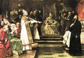 Painting of Jan Hus in Council of Constance by Václav Brožík
