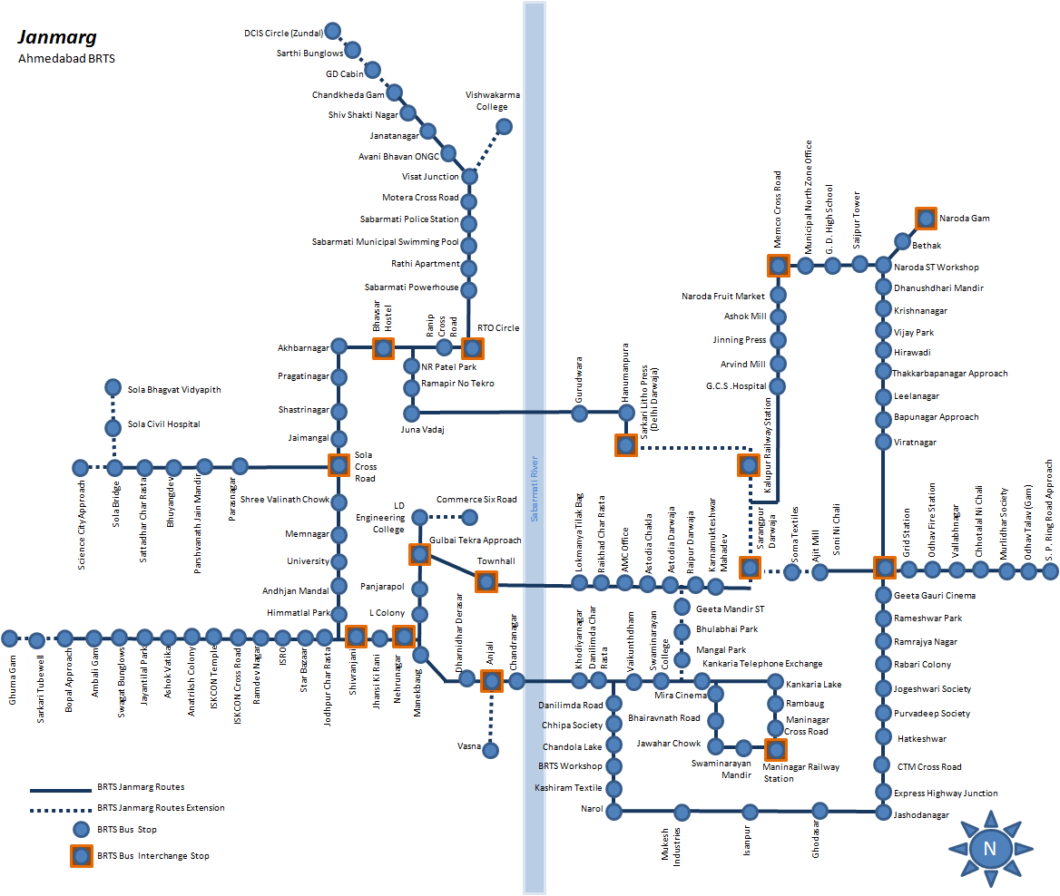 Janmarg Ahmedabad BRTS Network Map August 2015.png