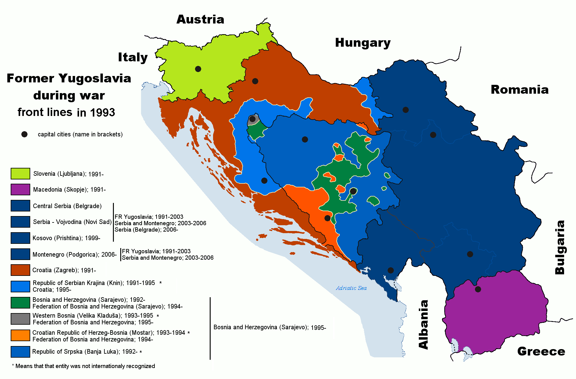 Map of former Yugoslavia during last wars.