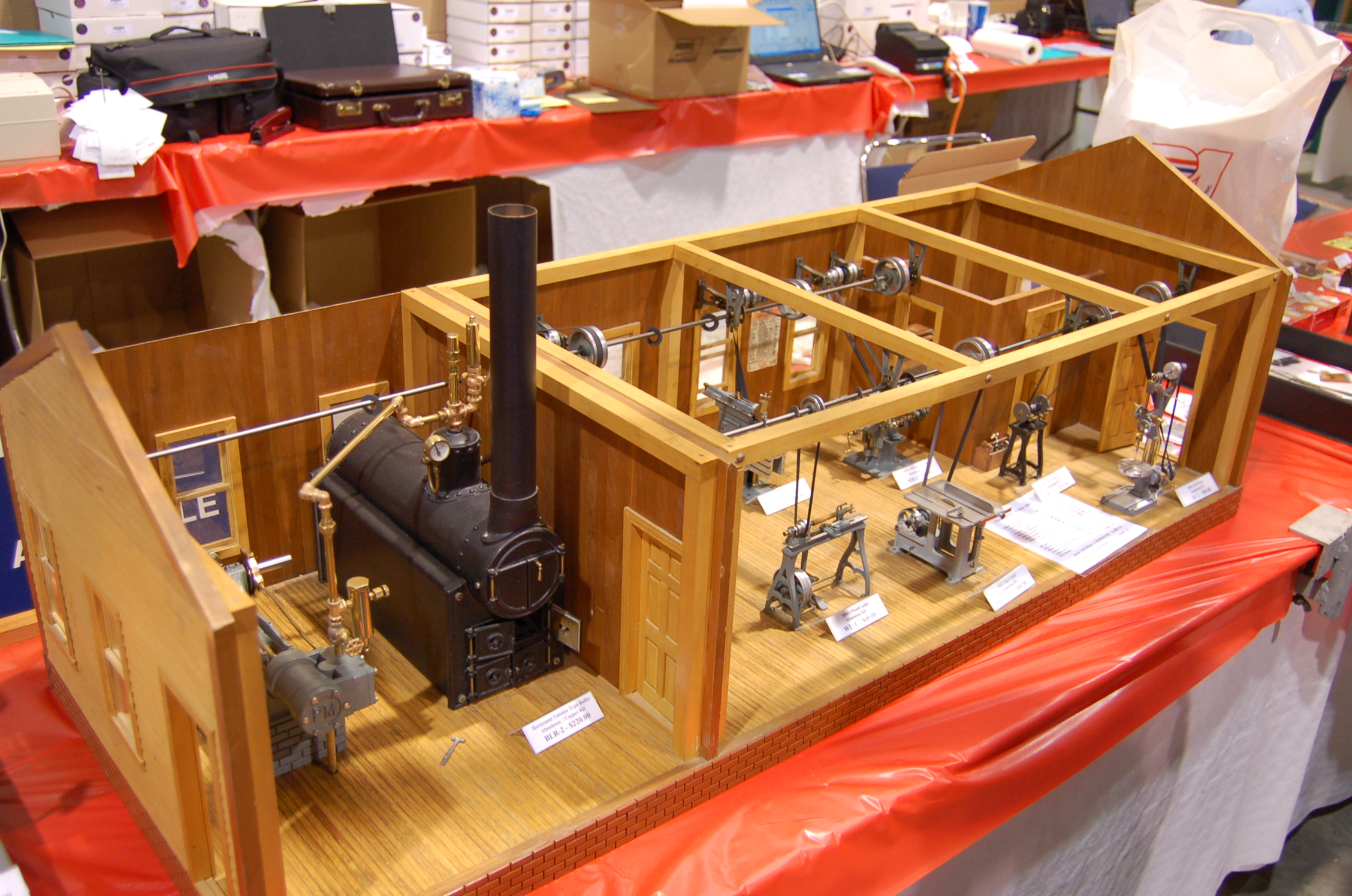 File:Miniature Machine Shop powered by Steam Boiler - 2008 North