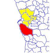 Quiçama (red) in Bengo province (yellow)