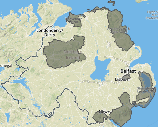 Map Of N Ireland.File N Ireland Aonbs Map Png Wikimedia Commons