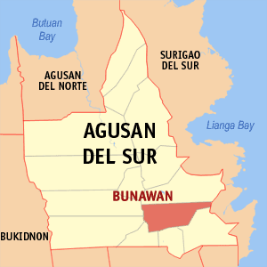 Map of Agusan del Sur showing the location of Bunawan