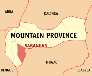 Map of Mountain Province showing the location of Sabangan