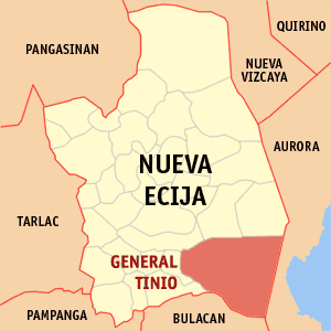 Map of Nueva Ecija showing the location of General Tinio