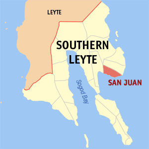 Map of Southern Leyte showing the location of San Juan