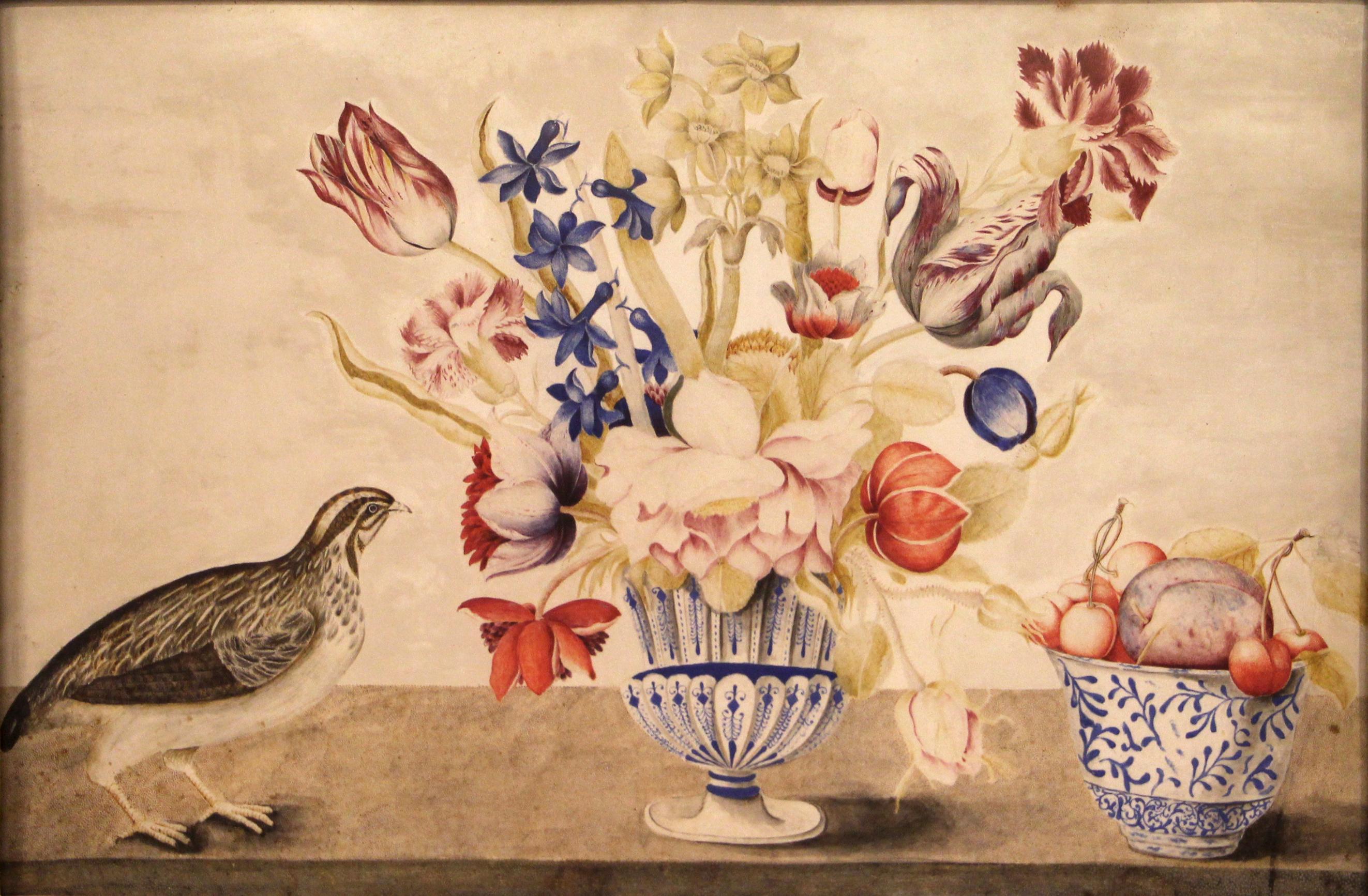 Mazzo Di Fiori Jpg.File Pittore Toscano Vaso In Maiolica Con Mazzo Di Fiori Quaglia
