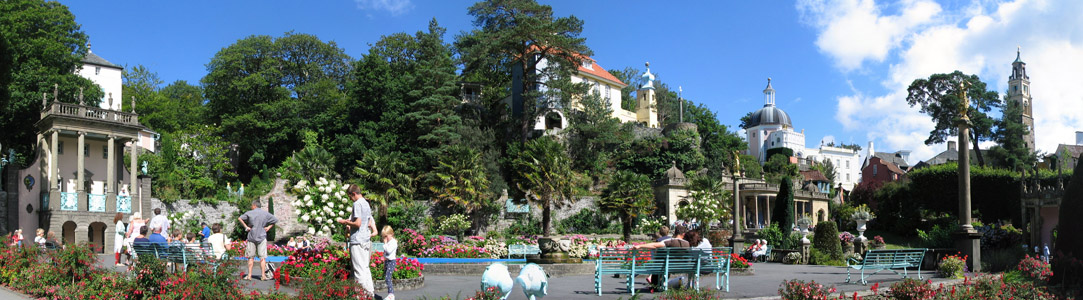 Panoramic view of the central piazza, Portmeirion village
