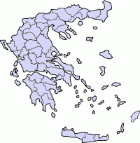 Map of Greece, position of Monemvasia highlighted