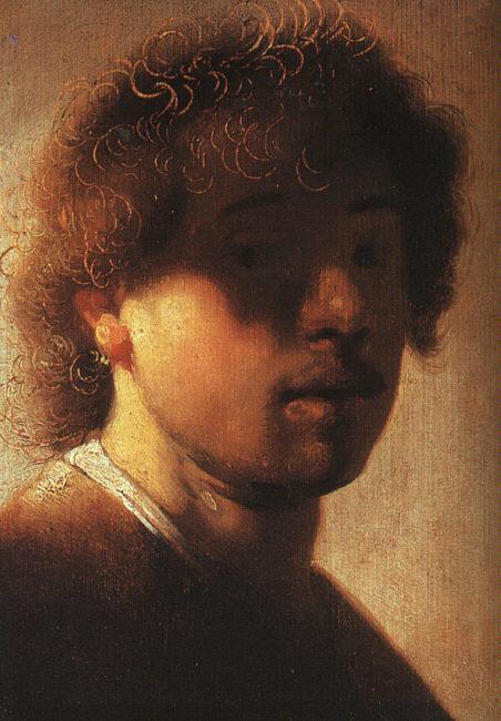 Rembrandt con 22 años: un ejercicio barroco de claroscuro. Obsérvese el tratamiento del cabello.