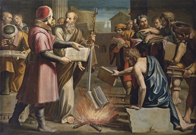 Image result for image of christians burning pagan books