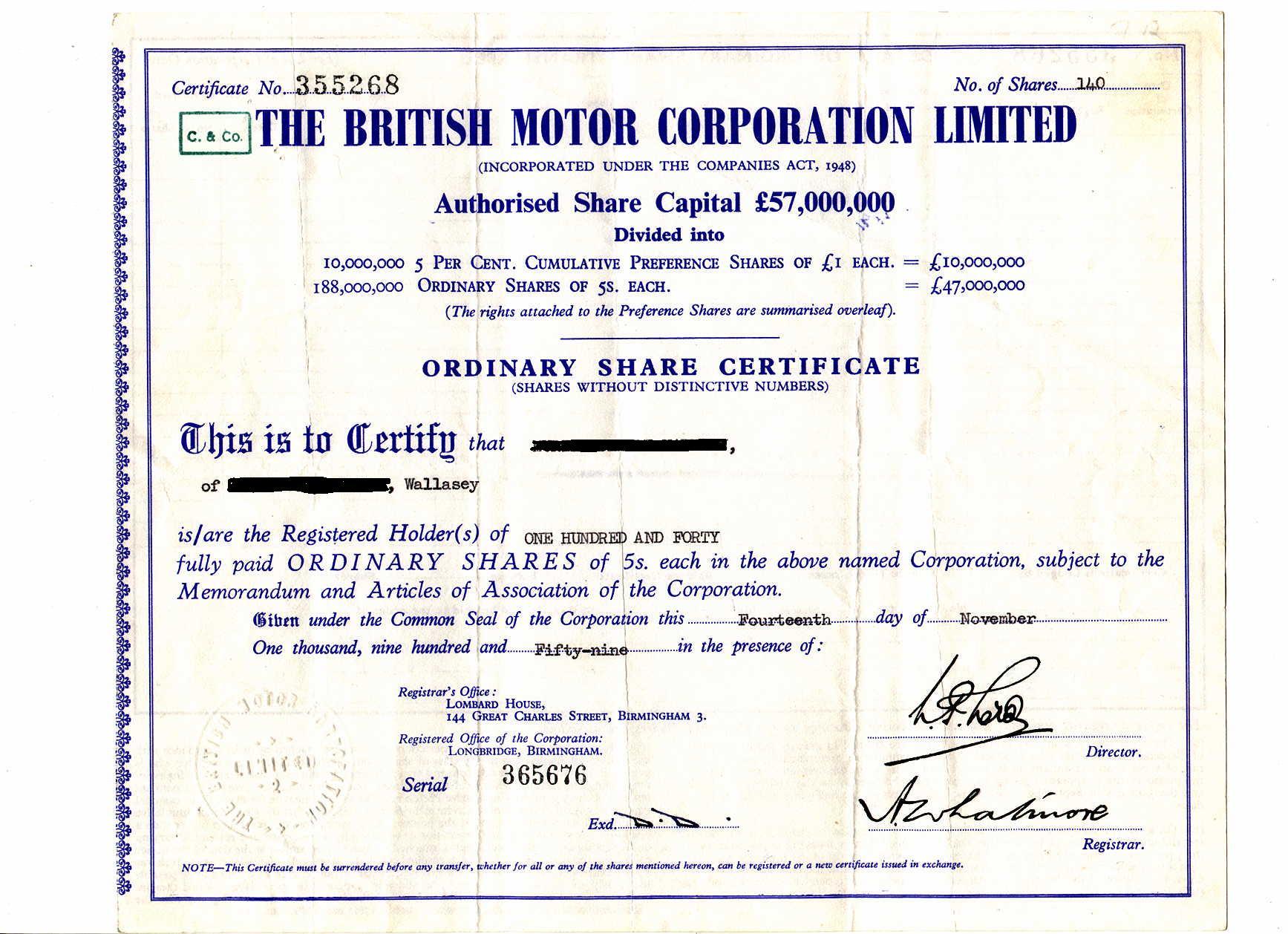 A BMC share certificate.