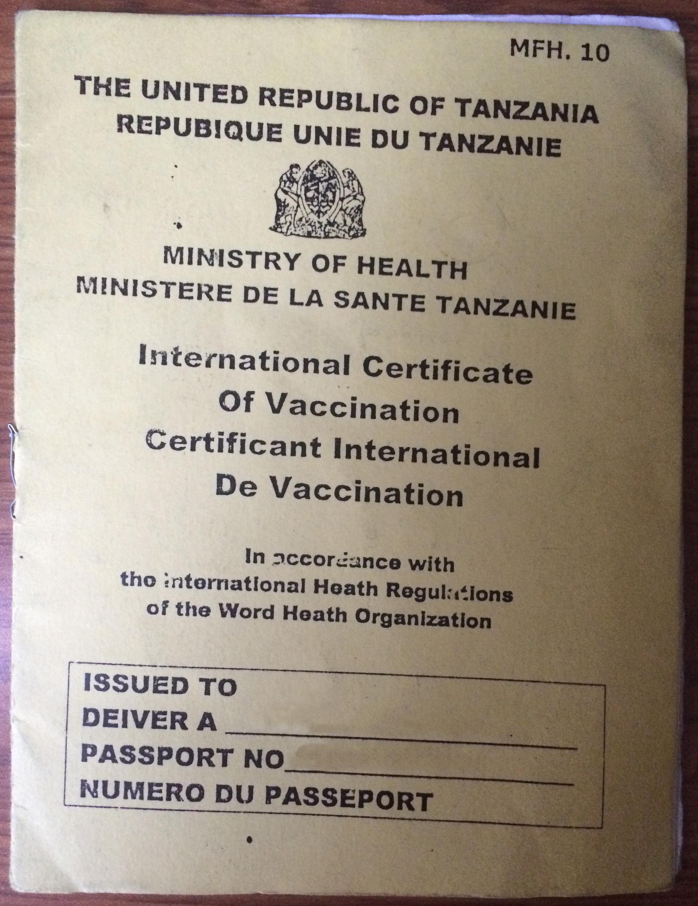 Filetanzania Issued Yellow Fever Certificateg Wikimedia Commons
