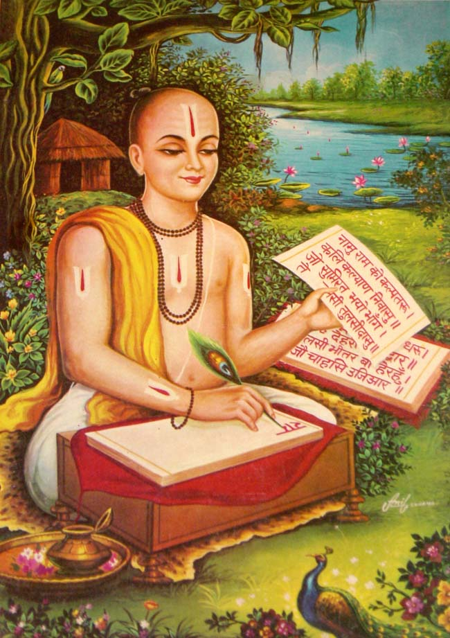 Tulsidas composing the ''[[Ramcharitamanas]]''.