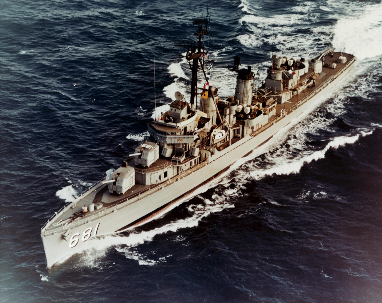 USS Hopewell (DD-681) during a test firing