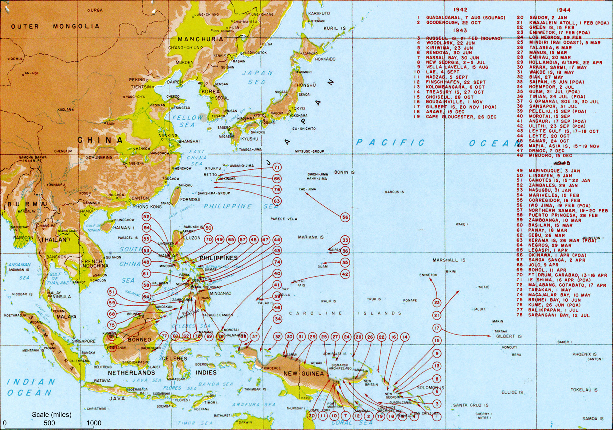 Pacific war wikipedia map indicating us landings during the pacific war gumiabroncs Image collections