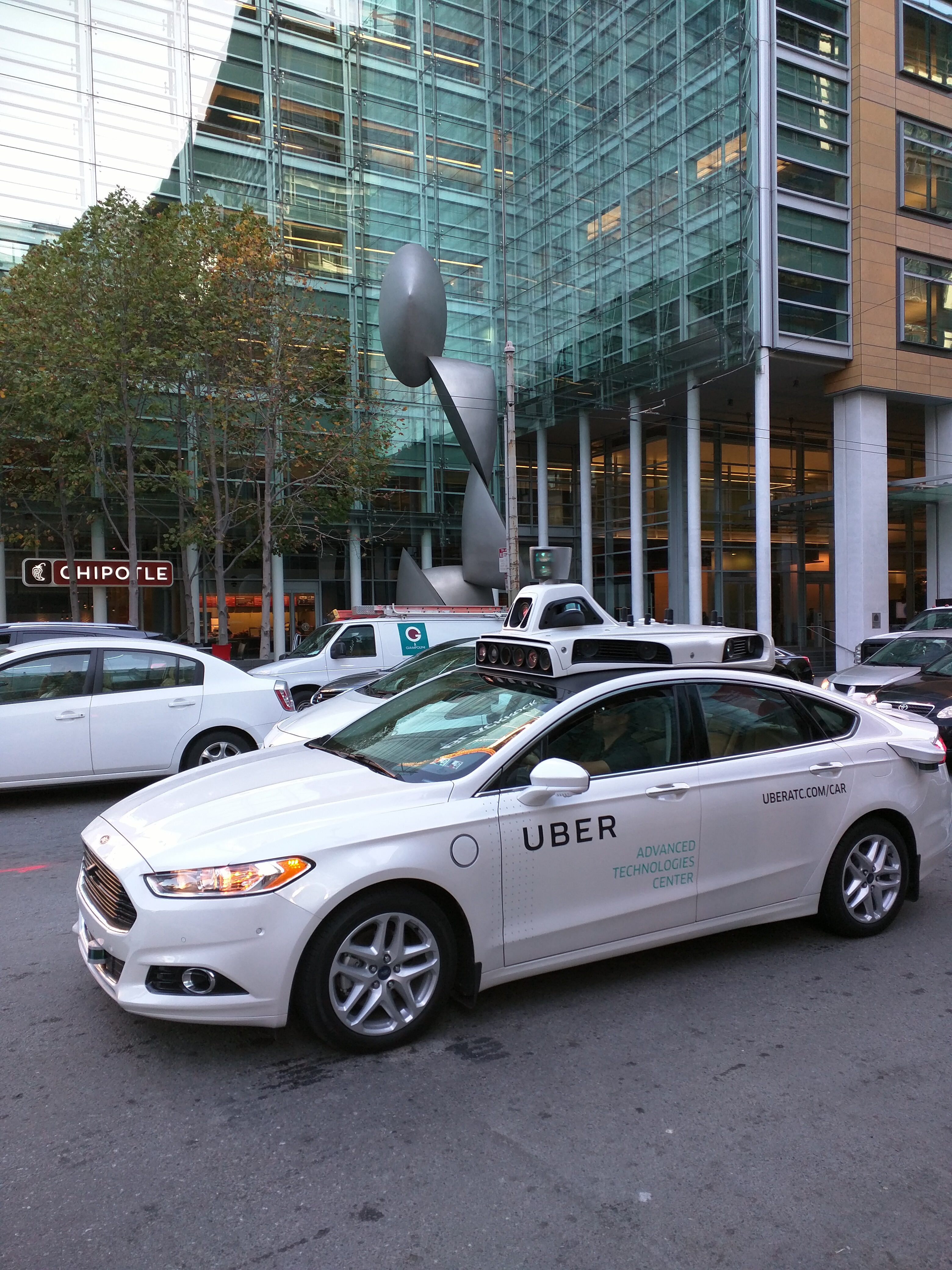 Uber's self-driving car test driving in downtown San Francisco