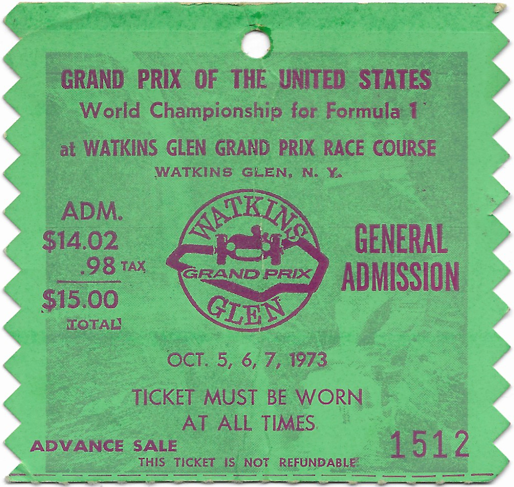 1973 United States Grand Prix ticket
